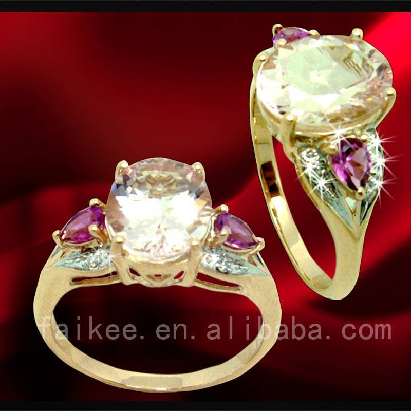 Charming K rose gold ring jewelry with gemstone