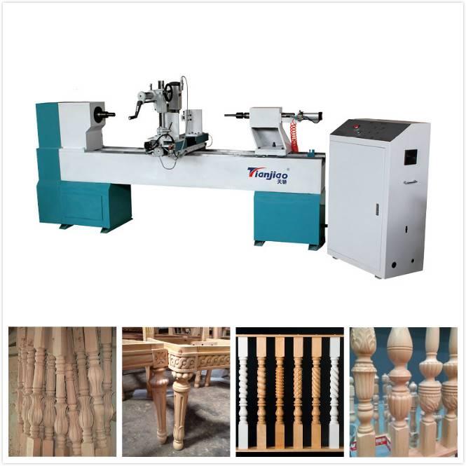 cnc wood lathe machine with engraving , turning , broaching function