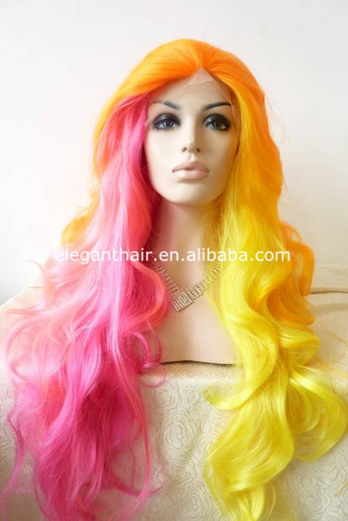 Fashion ombre sythetic hair super long wavy lace front wig