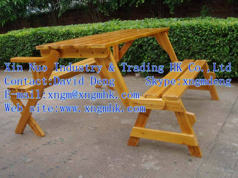Wooden tables and chairs, wooden multifunctional furniture, wooden garden furniture