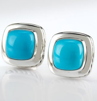 Sterling Silver 11mm Turquoise Albion Earrings for Women