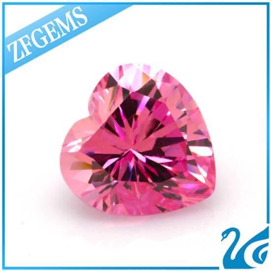 natural cut back synthetic diamond 10 10mm pink heart cut cz zirconia