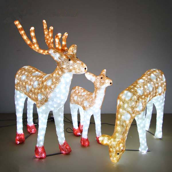 H:1.7m, 1.2m, 0.6m led reindeers/deers family Christmas 3d animal modeling light