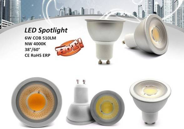 6W COB 510lm LED GU10 spot light