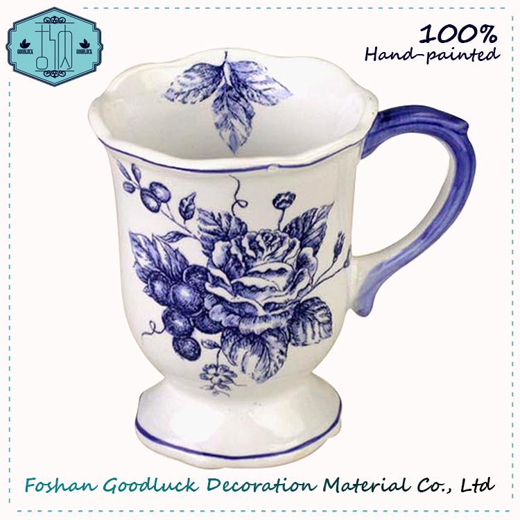 Hand Painted Blue Color Rose Porcelain Big Drink Cup