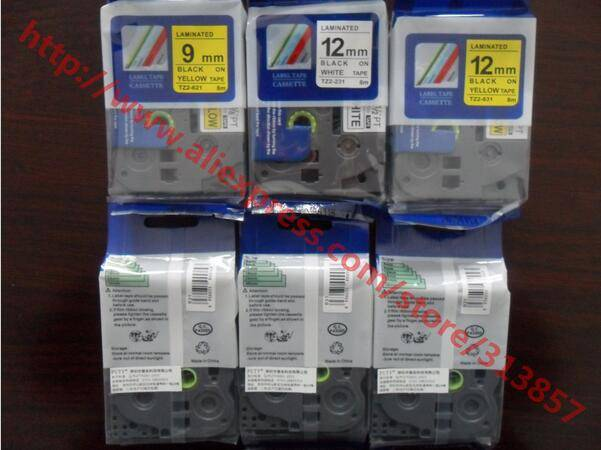 ink cartridges Printers tz tze compatible label tape TZ2-621 Black ON Yellow For P touch PT-D200