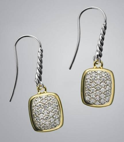 Pave Diamond Noblesse Wire Earrings