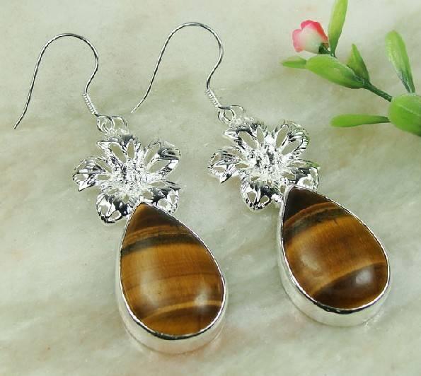 925 Sterling Silver Tiger eyes gemstone earrings