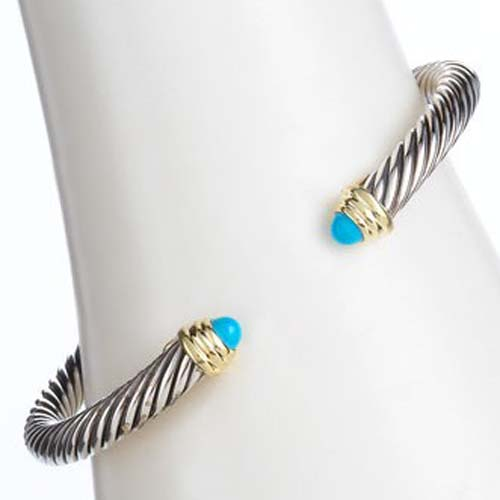 High Quality 925 Silver 5mm Turquoise Cable Classics Bracele
