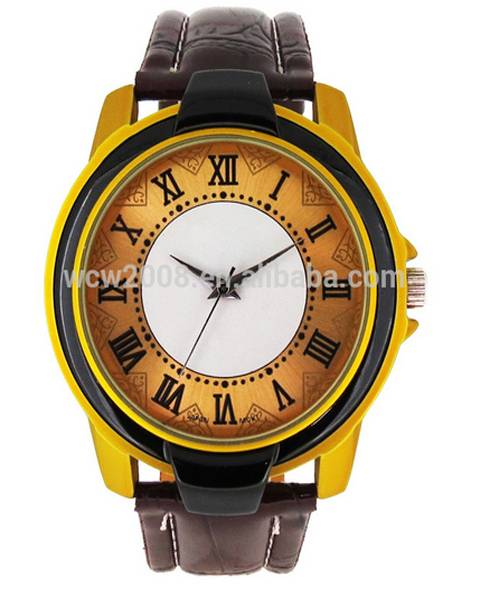 fashion leather quartz stainless steel back cover watch