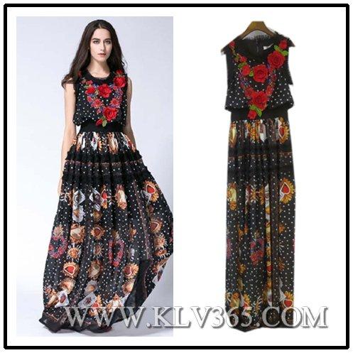 Women Fashion Summer Sleeveless Chiffon Silk Flower Elegant Long Evening Dress