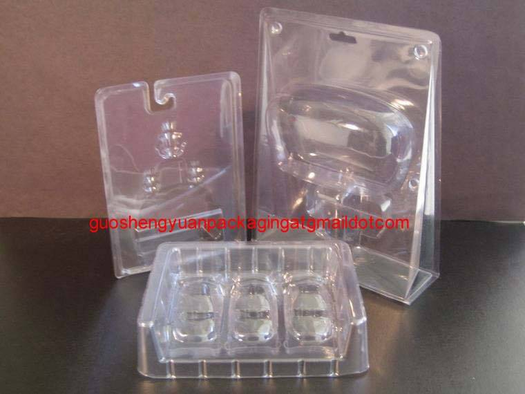 plastic standing packaging clamshell three fold blister for cosmetics
