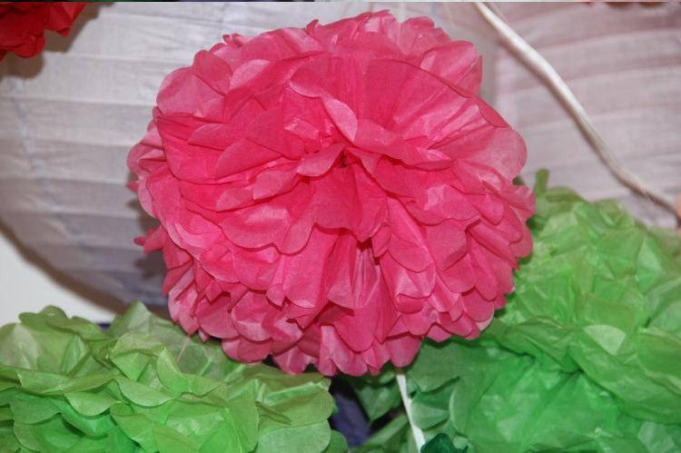 Tissue Paper Craft Pom Pom Wholesale Round Paper Flower for Wedding