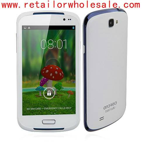 Wholesale i9600 Smartphone Android 4.2 MTK6572 Dual Core 1.2GHz 5.0 Inch 2.0MP Camera- White & Blue