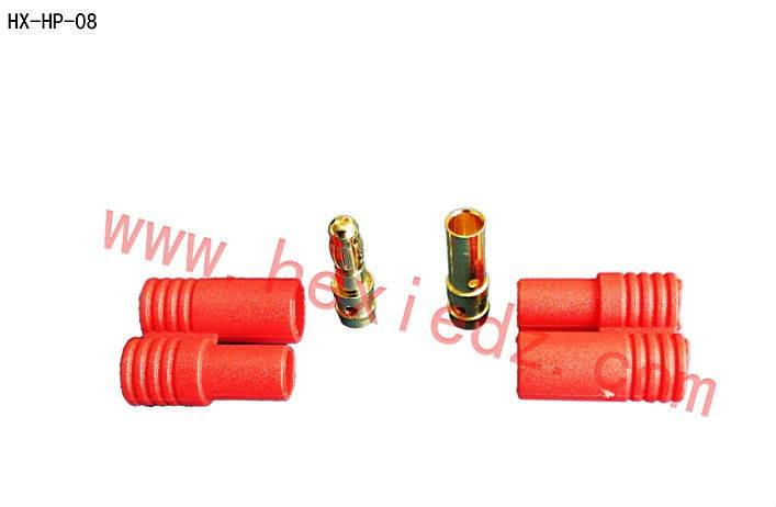 3.5mm gold plated connector with red plastic housing