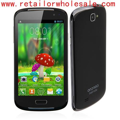 Wholesale i9600 Smartphone Android 4.2 MTK6572 Dual Core 1.2GHz 5.0 Inch 2.0MP Camera- Black