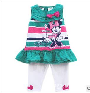 green color mickey children clothes set in summer