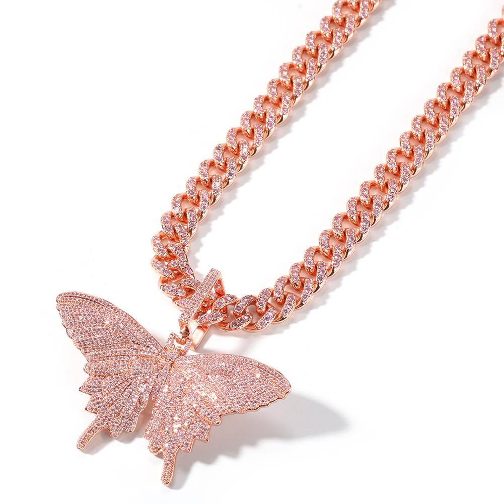 Silver Gold Cubic Zirconia Paved Bling Ice Out Butterfly Pendants Necklaces CZ Tennis Chain for Men