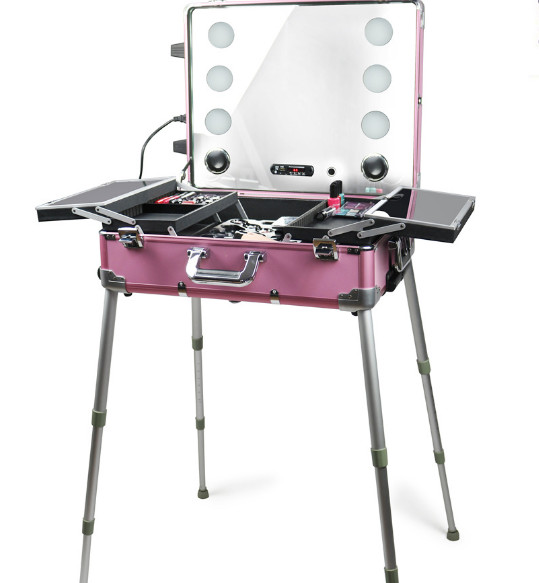 Rolling Makeup Train Case, Pink Travel Beauty Trolley Cosmetic Box with Lights Mirror