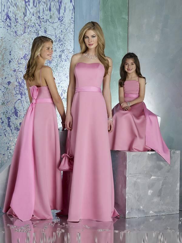Floor-Length A-Line Elastic Satin Strapless Bridesmaid Dress with Belt