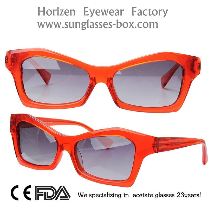Customized Your Own Logo Red Frame 2016 Fashion Acetate Sunglasses AC33