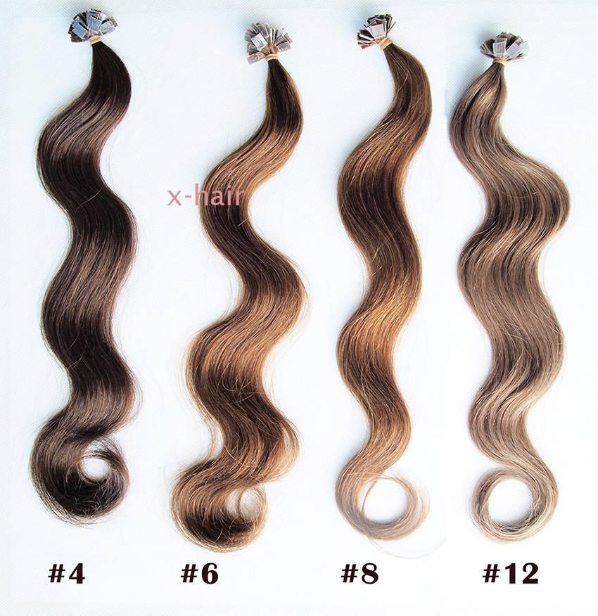 U-tip Flat tip 100% human hair extensions 1g/strand