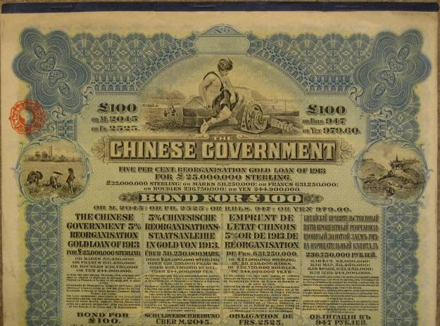 China historical gold certificates
