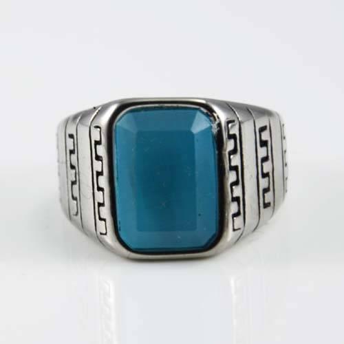 Blue gemstone ring Stainless steel ring