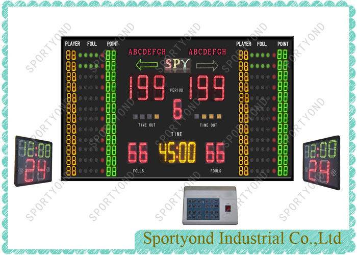 Led Electronic Digital Score Boards For Basketball Stadium Red Green Yellow