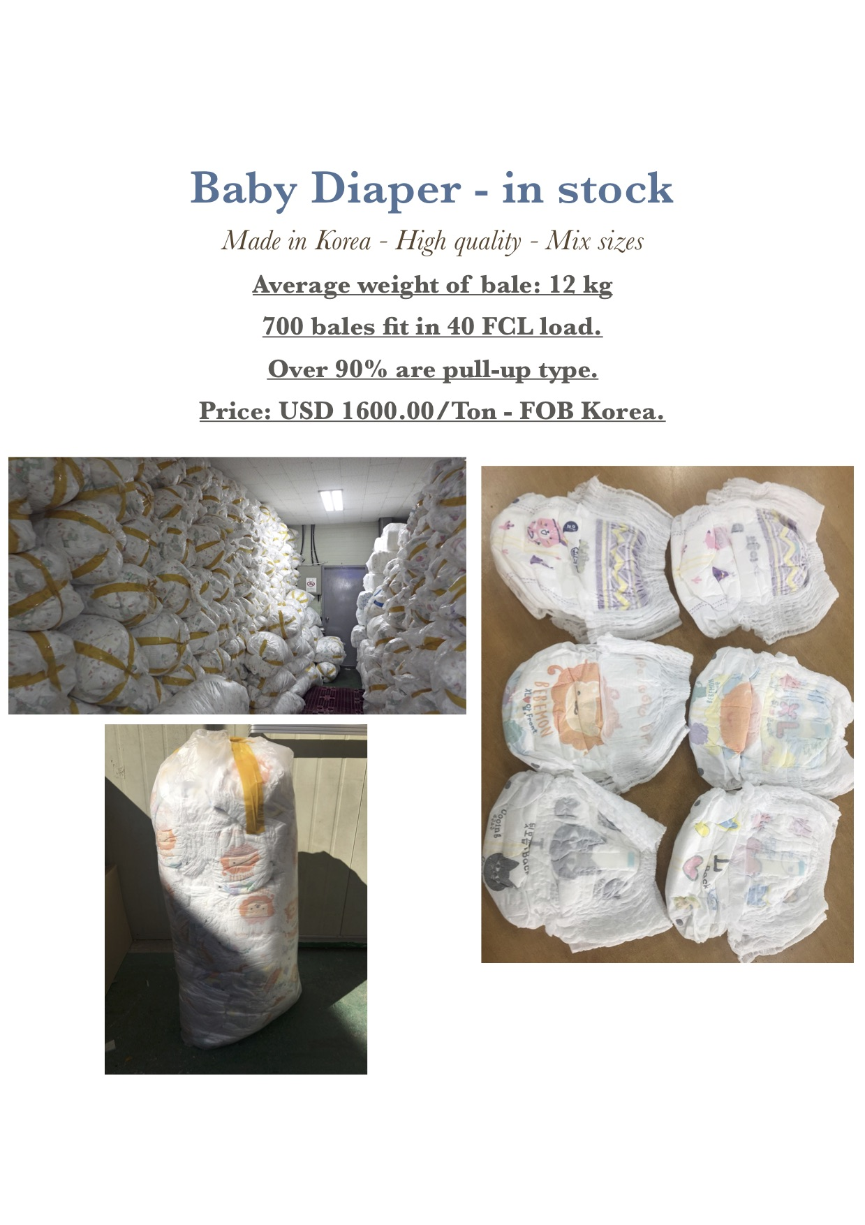 New Korea made Baby Disposable diapers in stock.