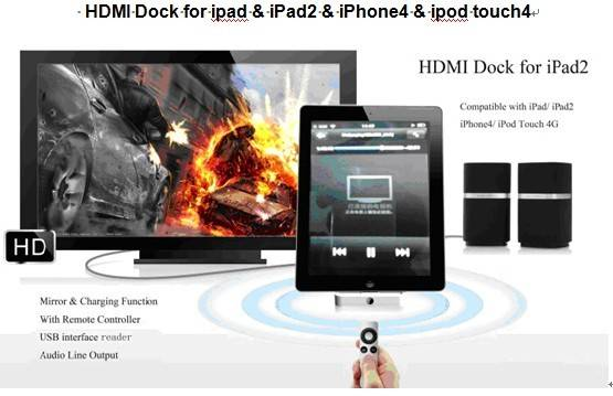 HDMI Dock for iPad/iPhone 4/iPod Touch, with Remote Control and USB Interface Reader