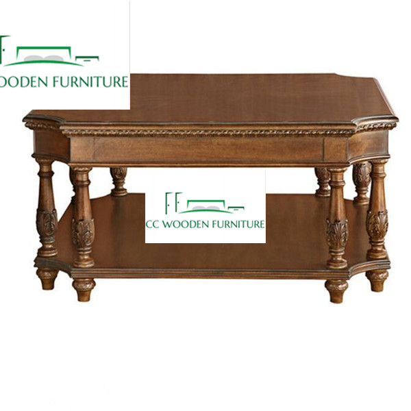 European style wood square coffee table with lift top