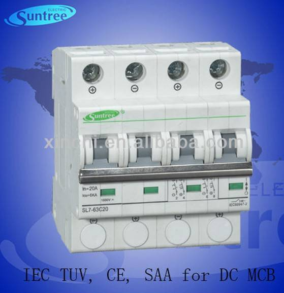 DC1000V 6A-63A DC MCB Circuit breaker for solar switch has passed IEC, TUV, SAA,CE certificate