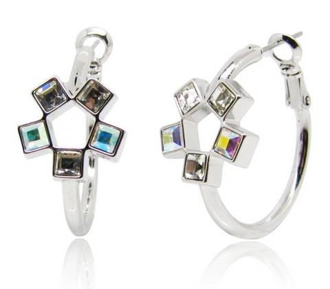 Wholesale Amazing shiny noble earrings flower shape with crystal aurore boreale Swarovski element