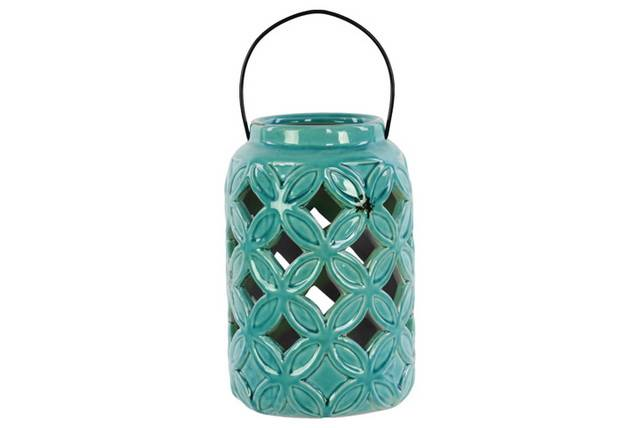 Ceramic Tall Cylindrical Lantern with Diagonal Cutout Design and Metal Handle