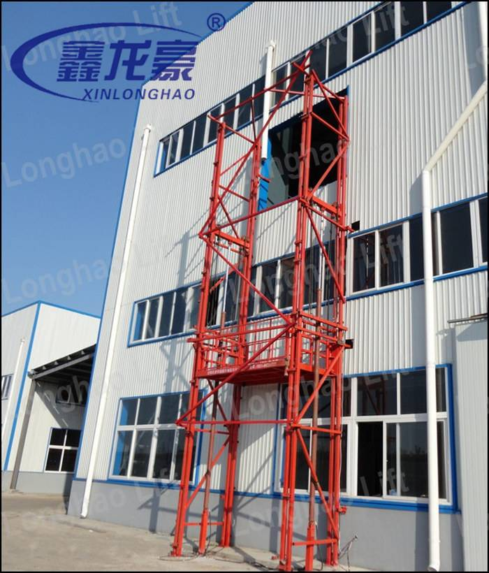 China heavy loading capacity hydraulic guide rail freight elevator