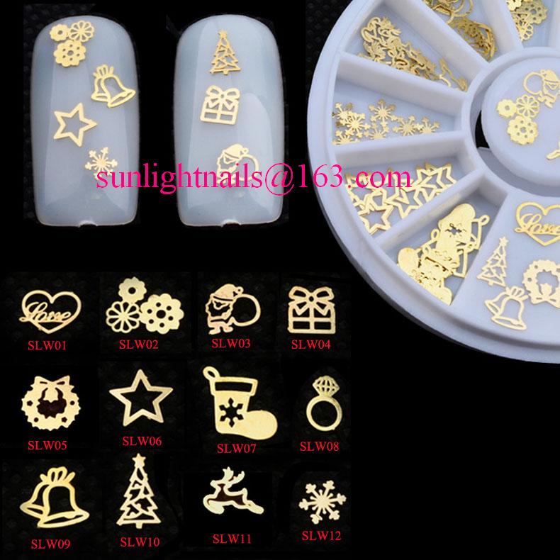 Christmas Design Gold Metal Stickers