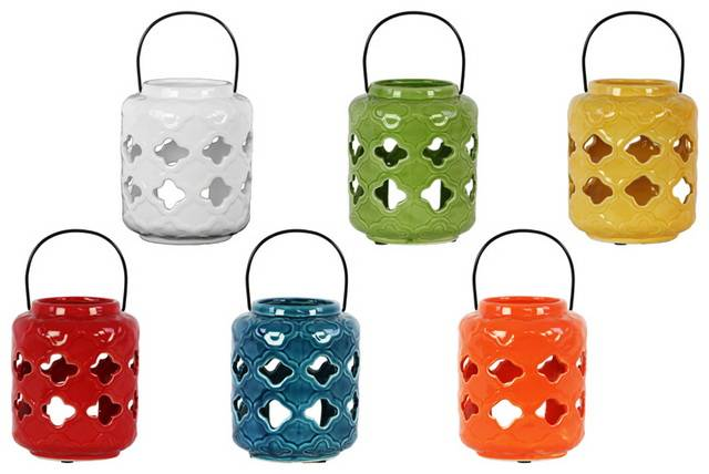 Ceramic Lantern with Cutout Design Assortment of Six Gloss Finish Assorted Color