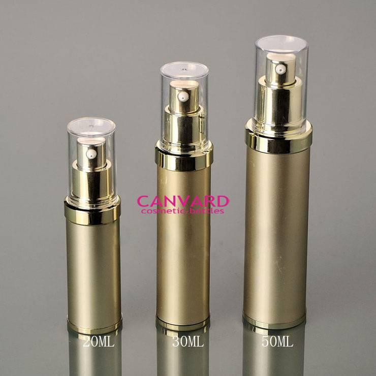 Gold metal airless pump bottle, alunimium plastic serum bottle