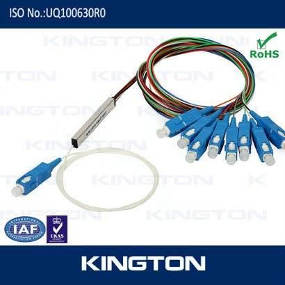 1x8 Optical Fiber Planar Lightwave Circuit ( PLC ) Splitter With SC / PC Connector