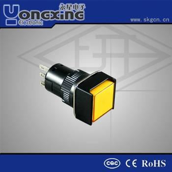 10mm blue rectangle double pole illuminated pushbutton switch