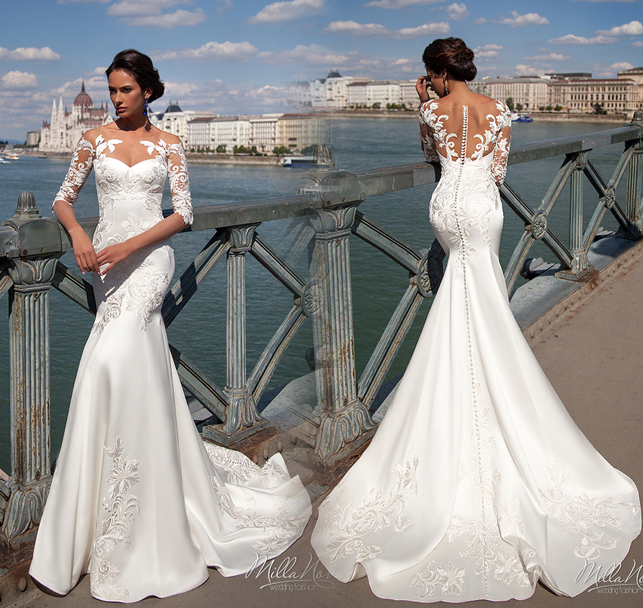 Real Custom Made long sleeve lace wedding dress,cheap bridesmaid dresses