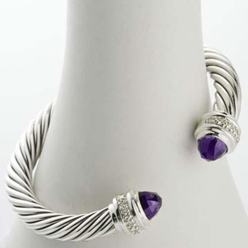 Sterling Silver Women 7mm Amethyst Silver Ice Bracelet