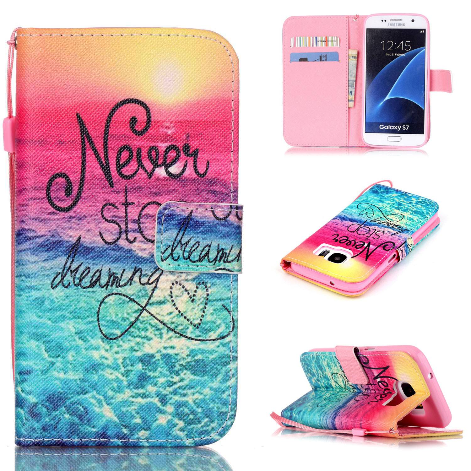 Fashion Print Leather phone case for Samsung Galaxy S7 and other phones wallet stand phone bag shell