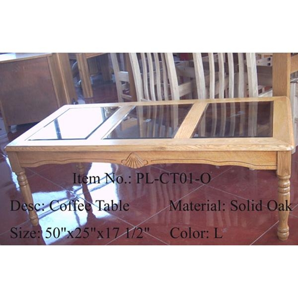 Solid Oak Coffee Table w/Glass