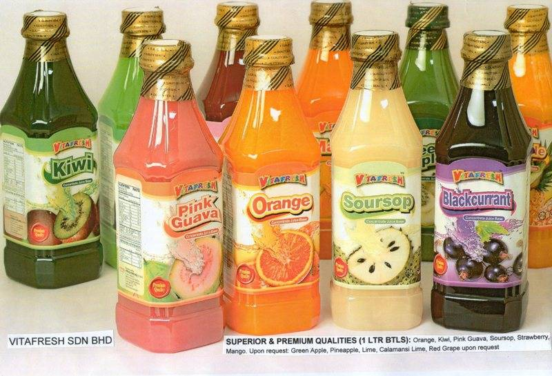 FRUIT JUICE BASE CONCENTRATES, CANNED DRINKS ETC