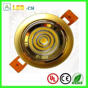 7W golden color shell rotatable COB led downlight