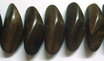 Tiger Ebony Wood Cone Nuggets Beads, Center Drill