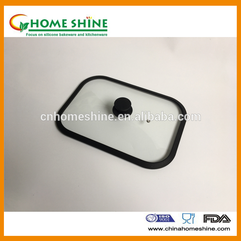tempered glass lid with silicone rim glass pan lid glass pot lid good quality glass lid