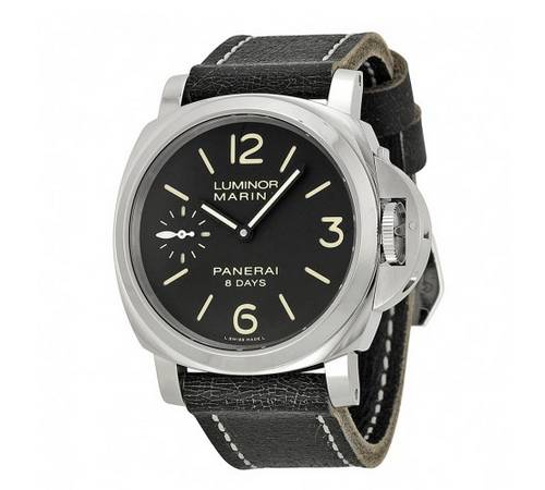 Discount mens watches Panerai Luminor Marina Black Dial Black Leather Men's Watch